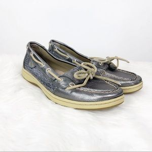 🍎Sperry Silver Metallic Sparkle Boat Shoes